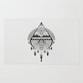 Geometrical black and white dreamcatcher Rug