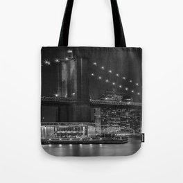 MANHATTAN SKYLINE & BROOKLYN BRIDGE Nightly Impressions | Panoramic Monochrome Tote Bag