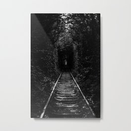 Railway Tunnel Of Trees And Brushes Metal Print