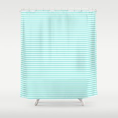 Mint White Stripes Shower Curtain