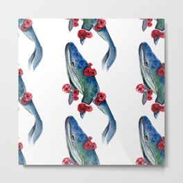 seamless pattern whale and red flowers Metal Print