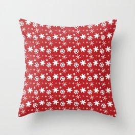 Snowflakes on Red Throw Pillow