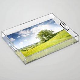 Idyllic Cotswold Summer Landscape Acrylic Tray
