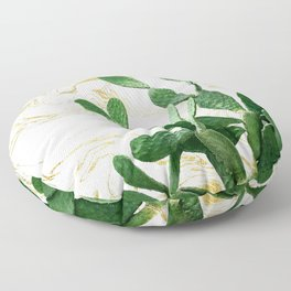 Cactus Opuntia - gold marble Floor Pillow