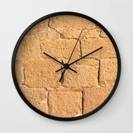 Close up view of an ancient smooth textured brick wall Wall Clock