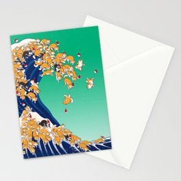 Christmas Shiba Inu The Great Wave Stationery Cards