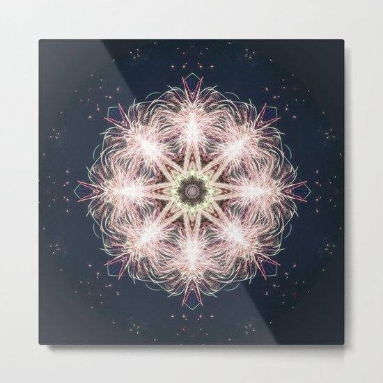 New year colorful sparkly fireworks mandala Metal Print