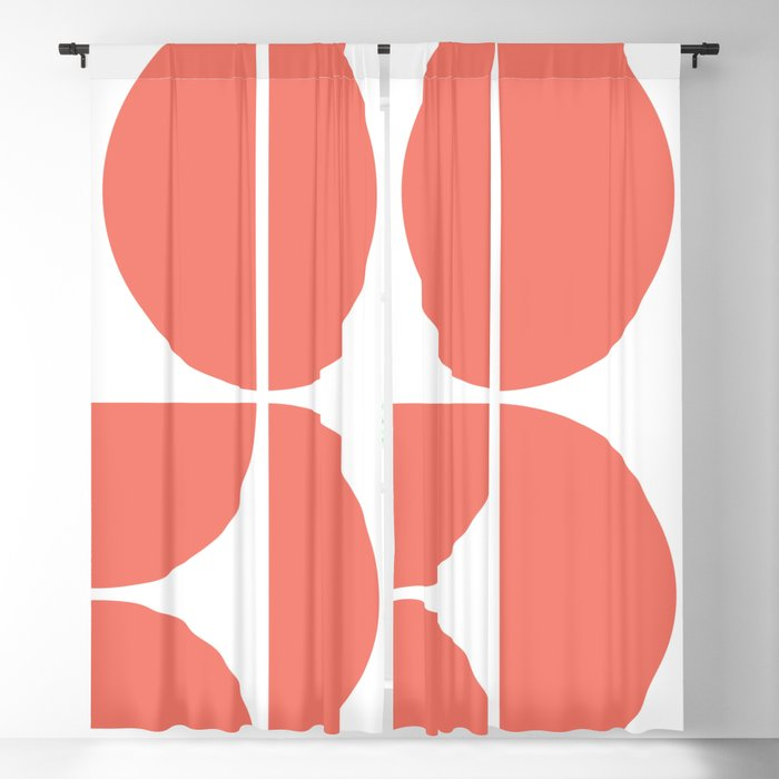 Mid Century Modern Living Coral Square Blackout Curtain