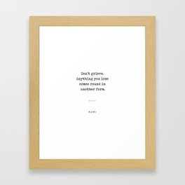 Rumi Quote On Life 04 - Minimal, Sophisticated, Modern, Classy Typewriter Print Framed Art Print