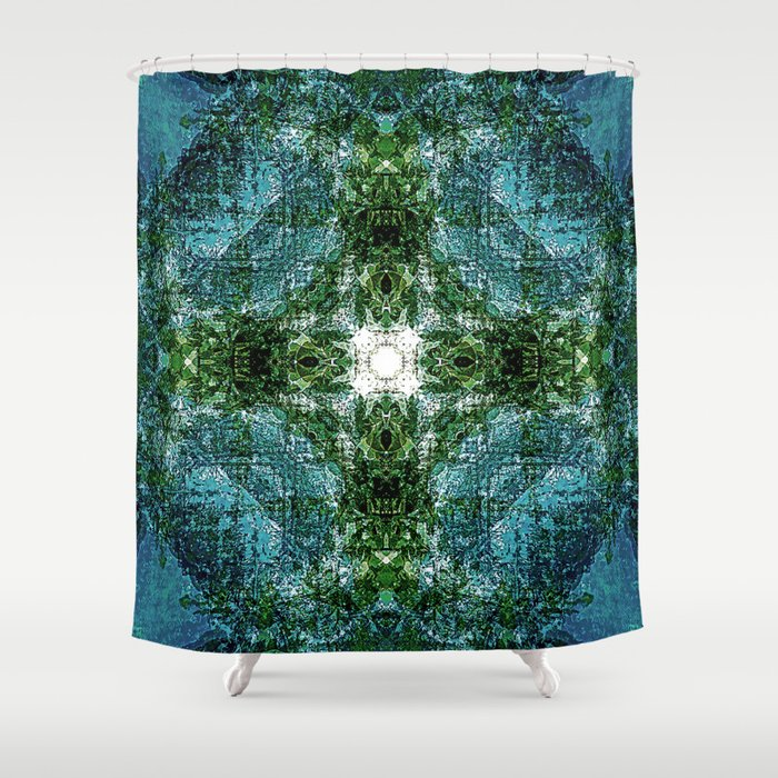 Sea Blue, Forest Green Mandala Shower Curtain