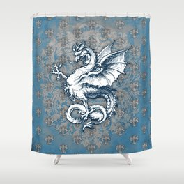 Noble House STEEL BLUE / Grungy heraldry design Shower Curtain