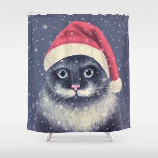 Christmas cat with a mustache Shower Curtain