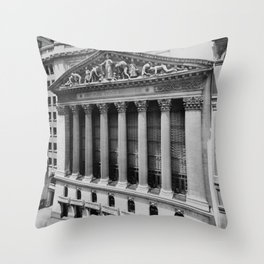 Vintage NYC Stock Exchange Photograph (1908) Throw Pillow