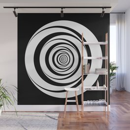 Black White Circles Optical Illusion Wall Mural