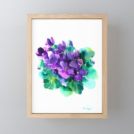 Violet Flowers  Sainpaulia African Violets violet purple yellow floral decor Framed Mini Art Print