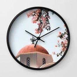 Greek White Church Art Print | Pink Flowers | Crete, Greece Photo | Travel Photography Wall Clock