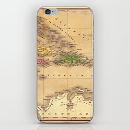 Map Of The Caribbean 1828 iPhone Skin