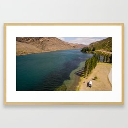 lonely camper on a lake near jacks bay new zealand Framed Art Print
