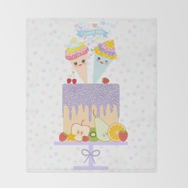 I love you Card design - Birthday, valentine's day, wedding, engagement. Sweet cake,  Kawaii Throw Blanket
