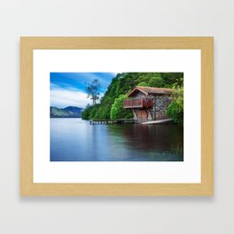 Smooth as Glass Lake and Boathouse Framed Art Print