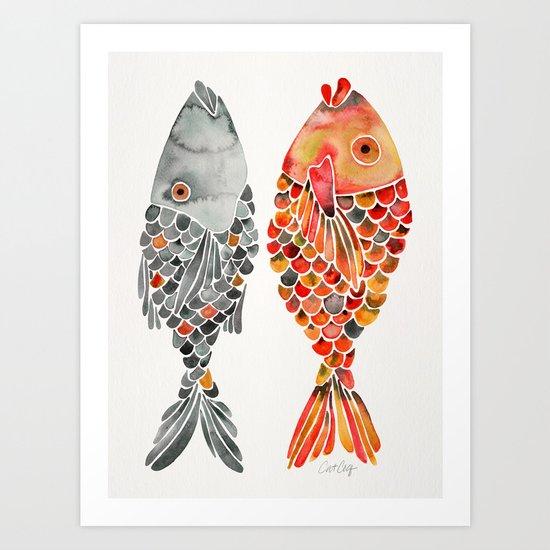Indonesian Fish Duo – Grey & Orange Palette Art Print