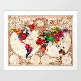 Antique and POP Art Map Art Print