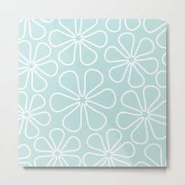 Abstract Flower Outlines White on Duck Egg Blue Metal Print