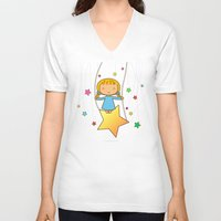 starry night V-neck T-shirts featuring Starry Night by Pigtails