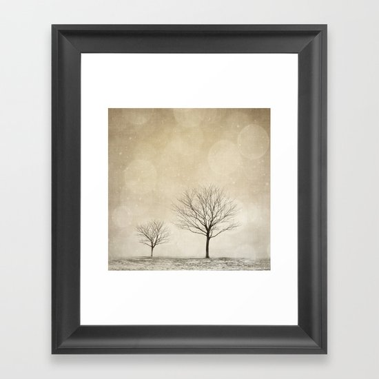 Snow Bokeh Wonderland  Framed Art Print