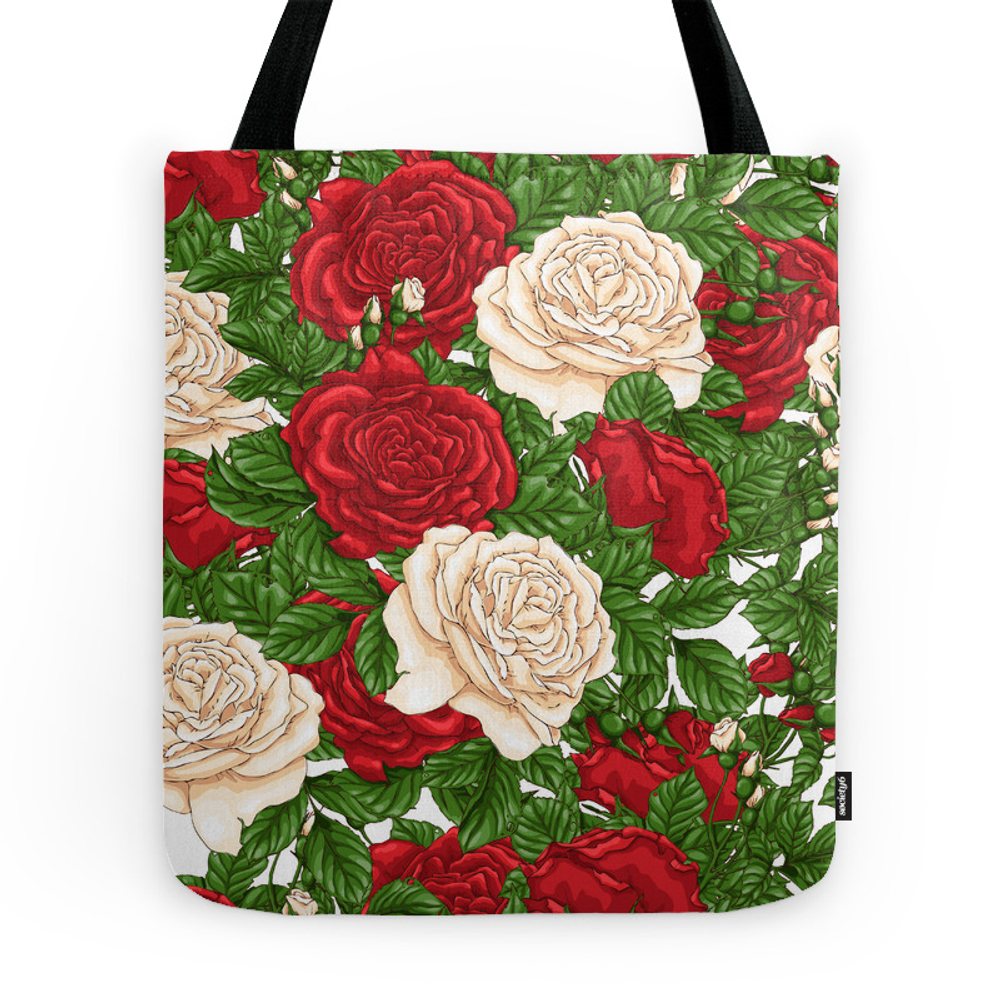 Red White Roses Tote Purse by deluxenoirdesigns (TBG9940890) photo