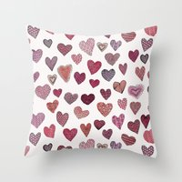 artsy Throw Pillows featuring Artsy Hearts by Shifra Whiteman