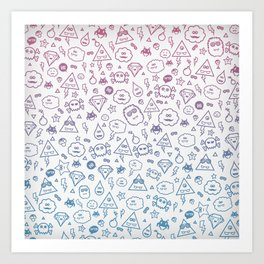 Cute & Sweet Monsters / Funny Clouds and Diamonds Art Print