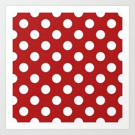 Carnelian - red - White Polka Dots - Pois Pattern Art Print