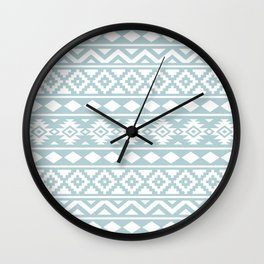 Aztec Essence Ptn III White on Duck Egg Blue Wall Clock