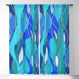 Wavy Blue Blackout Curtain
