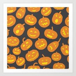 Gray and Orange Jack-O-Lantern Art Print