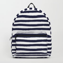 Navy Blue and White Horizontal Stripes Backpack