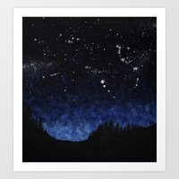 night sky Art Prints featuring Night sky by AhaC