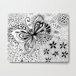 Butterfly and flowers, doodles Metal Print