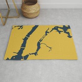 Manhattan New York NYC Minimalist Abstract in Light Mustard and Navy Blue Rug