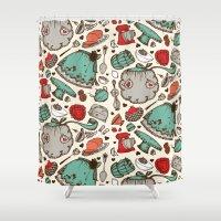kitchen Shower Curtains featuring Kitchen Thingies by Dawn Gonzales