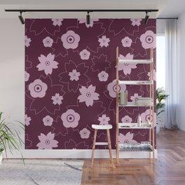Sakura blossom - burgundy Wall Mural