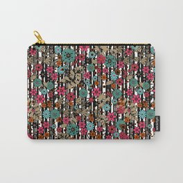 Floral pattern on black and white striped background Carry-All Pouch