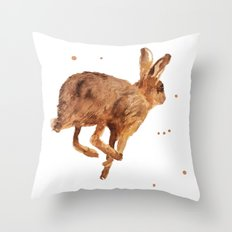 hare, mad as a march hare, british wildlife, meadow animals, haring about Throw Pillow
