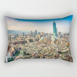 Aerial view and cityscape of Taipei, Taiwan Rectangular Pillow