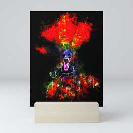 doberman dog red flowers meadow splatter watercolor Mini Art Print