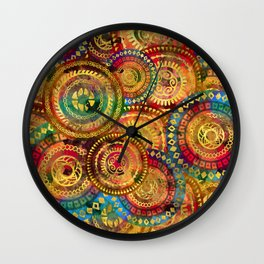 Colorful Circular Tribal  pattern with gold Wall Clock