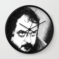 stanley kubrick Wall Clocks featuring Stanley Kubrick by Daniel Point