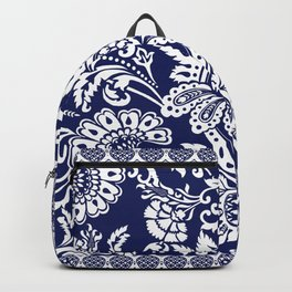 damask in white and blue Backpack