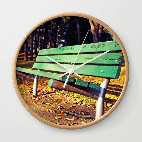 Autumn park bench Wall Clock